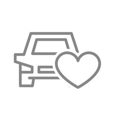 car with heart line icon car insurance like vector image