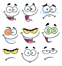 Cartoon funny face with expression 1 collection vector