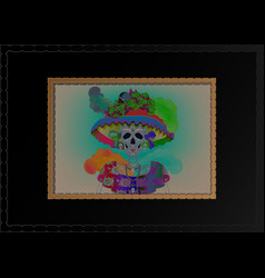 catrina skull day dead vintage dia de los muertos vector image