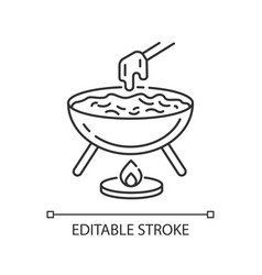 Cheese fondue pixel perfect linear icon vector