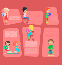 Children read books small with text vector