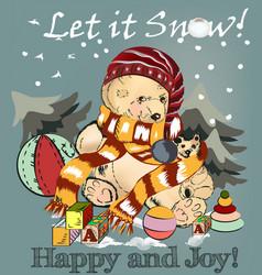 Christmas greeting card with pretty plush bear vector