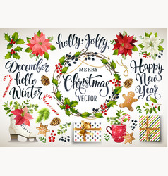 Christmas set design composition of poinsettia vector