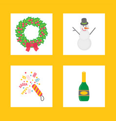 christmas signs for party in flat style vector image