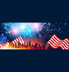 colorful fireworks for independence day of america vector image