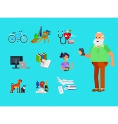 Cool flat character design on senior vector image