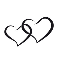 couple hearts love forever together black vector image