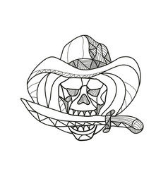 Cowboy pirate skull biting dagger mosaic vector