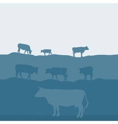 Cows silhouette graze in the field landscape sky vector image