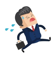 Cute businessman desperately crying icon vector