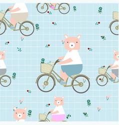 Cute cartoon teddy bear on bike vector