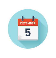December 5 flat daily calendar icon date vector