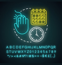depart and return date neon light icon travel vector image