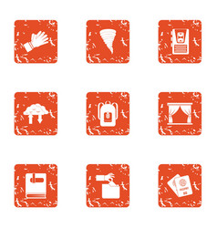 Discharge icons set grunge style vector