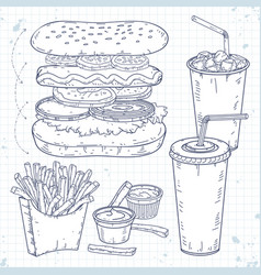 doodle set fast food hot dog drinks and vector image