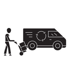 express freight loading black concept icon vector image