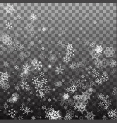 falling shining snowflakes and snow on vector image
