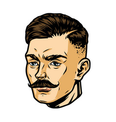 fashionable mustached man head vector image