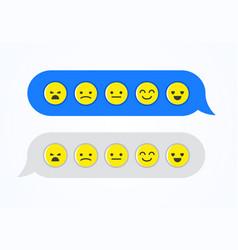 Feedback emoticon emoji smiley icon chat bubbles vector