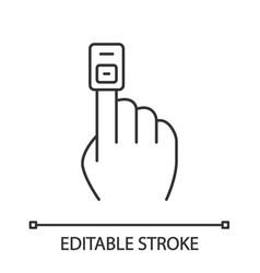 Fingertip pulse oximeter linear icon vector