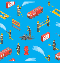 firefighterseamless pattern background 3d vector image