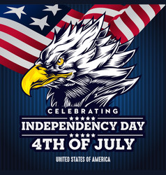 Flat background with eagle head for usa vector