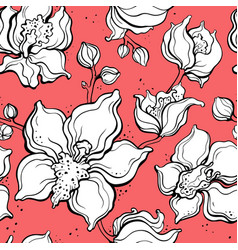 floral pattern with orchids hand drawn vector image