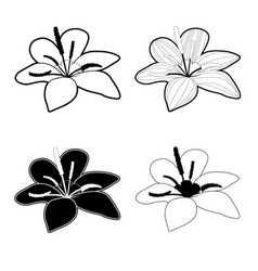 flower icon black and white vector image