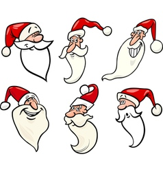 funny santa claus cartoon faces icons set vector image