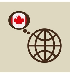 Globe sphere flag canada country button graphic vector
