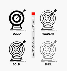 goal hit market success target icon in thin vector image