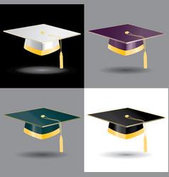 Graduation student caps with golden elements set vector