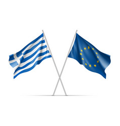 greece and european union waving flags vector image