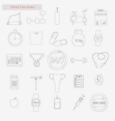 Gym set style line icons on white vector