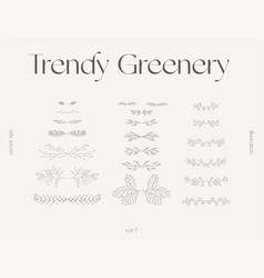 Hand draw one line floral elements greenery vector