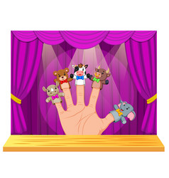 Hand wearing 5 finger puppets in the stage vector