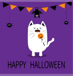 Happy halloween spooky frightened cat holding vector