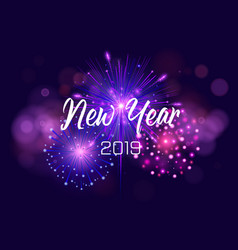 happy new year 2019 with firework and vector image