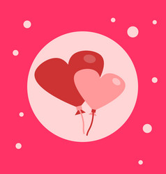 Heart shaped air balloons icon on pink background vector