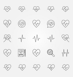 Heartbeat icons set - cardiac cycle line vector