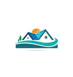 Home realty nature landscape logo vector