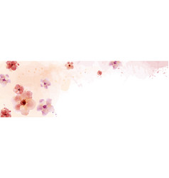 horizontal design with watercolor flower hand vector image