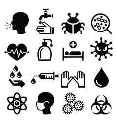 Infection virus - health icons set vector image