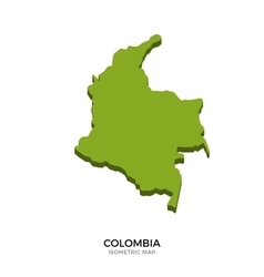 Isometric map of Colombia detailed vector image