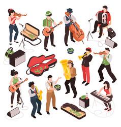 isometric street musician set vector image