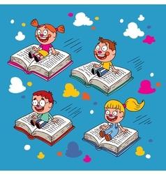 Kids flying on books vector