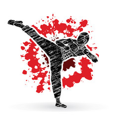 Kung fu karate kick designed on splatter blood vector