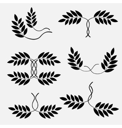 Laurel wreath tattoo set couple sign icon floral vector