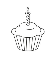 Line art black and white birthday cupcake vector