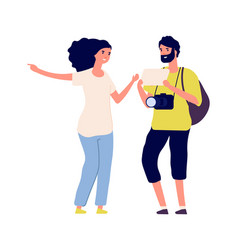 Man ask road tourist and young woman isolated vector